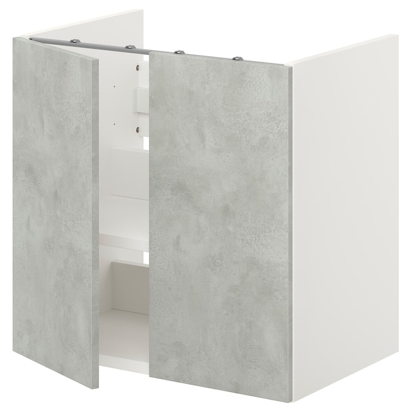 ENHET Bs cb f wb w shlf/doors, white/concrete effect, 60x42x60 cm