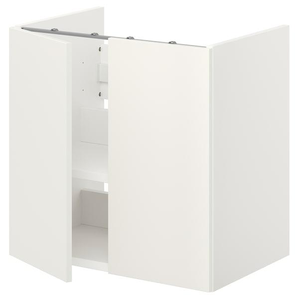 ENHET خزانة حوض مع رف/أبواب, أبيض, 60x42x60 سم
