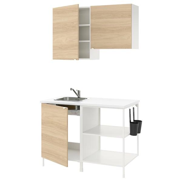 ENHET Kitchen, white/oak effect, 123x63.5x222 cm