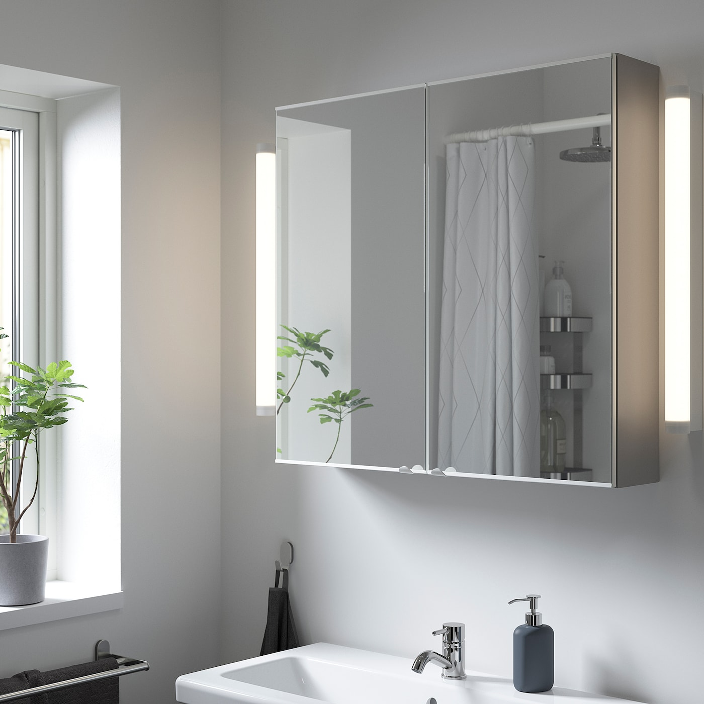 ENHET خزانة بمرآة مع بابين, رمادي, 80x17x75 سم
