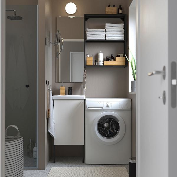 ENHET / TVÄLLEN أثاث حمام، طقم من 10, أبيض/فحمي حنفية Saljen, 44x43x87 سم