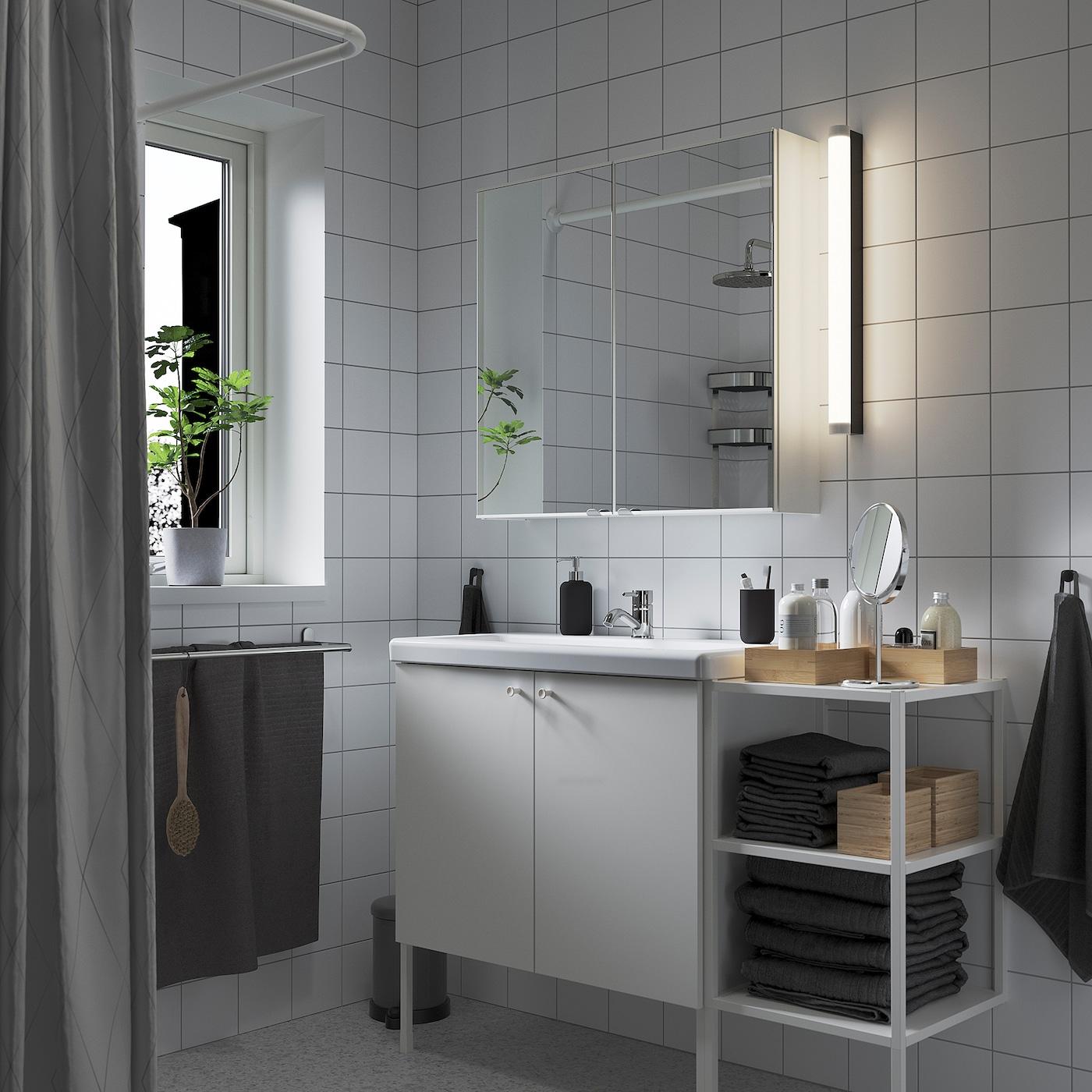 ENHET / TVÄLLEN أثاث حمام، طقم من 14, أبيض/حنفية Pilkån, 122x43x87 سم