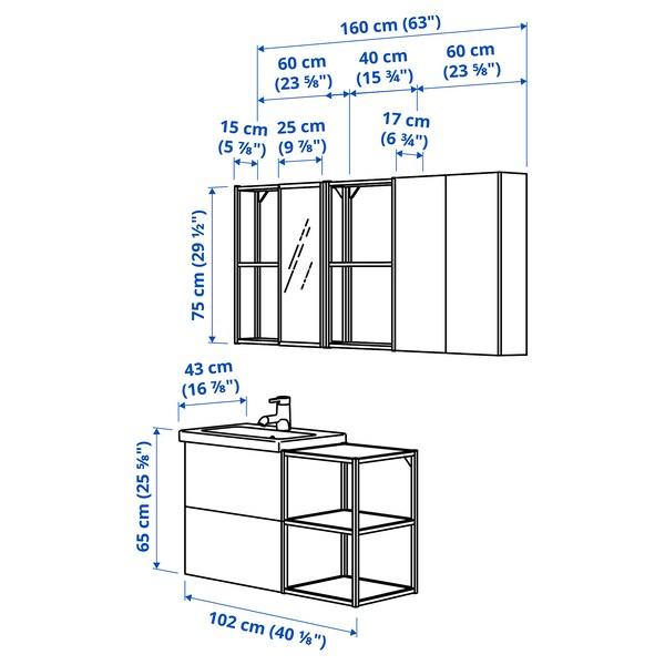 ENHET / TVÄLLEN أثاث الحمام، طقم من 18, أبيض/فحمي حنفية Saljen, 102x43x65 سم