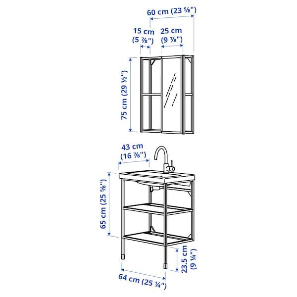 ENHET / TVÄLLEN أثاث الحمّام، طقم من 9, فحمي/حنفية Saljen, 64x43x87 سم