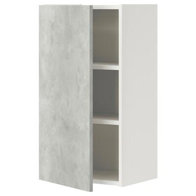 ENHET خزانة حائط مع رفين/باب, أبيض/تأثيرات ماديّة., 40x30x75 سم