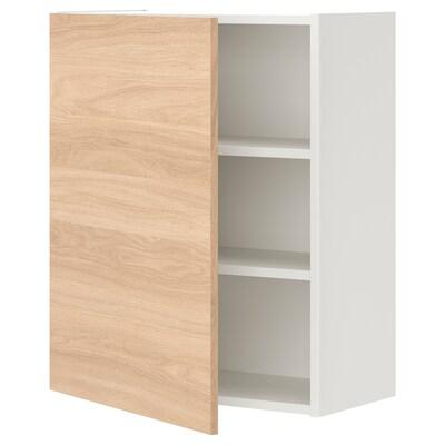 ENHET خزانة حائط مع رفين/باب, أبيض/شكل السنديان, 60x30x75 سم