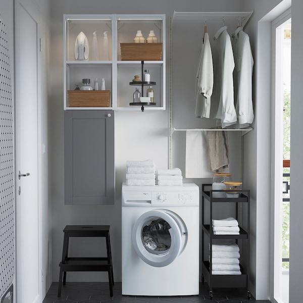 ENHET Wall storage combination, white/grey frame, 80x32x150 cm