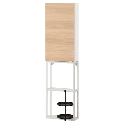 ENHET Wall storage combination, white/oak effect, 40x17x150 cm