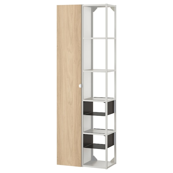 ENHET تشكيلة تخزين حائطية, أبيض/شكل السنديان, 60x32x180 سم
