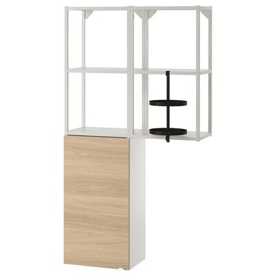 ENHET تشكيلة تخزين حائطية, أبيض/شكل السنديان, 80x30x150 سم