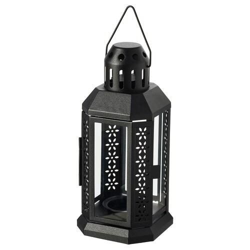 ENRUM lantern for tealight, in/outdoor black 22 cm