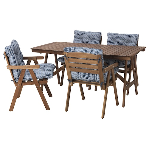 FALHOLMEN table+4 chairs w armrests, outdoor light brown stained/Ytterön blue