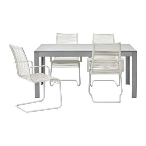 Falster v sman table 4 chairs w armrests outdoor grey for Outdoor furniture jeddah