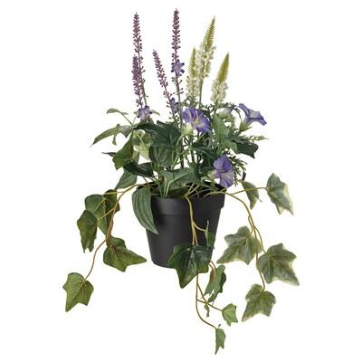 FEJKA نبات صناعي في آنية, داخلي/خارجي/تنسيقات أزرق/أبيض, 12 سم