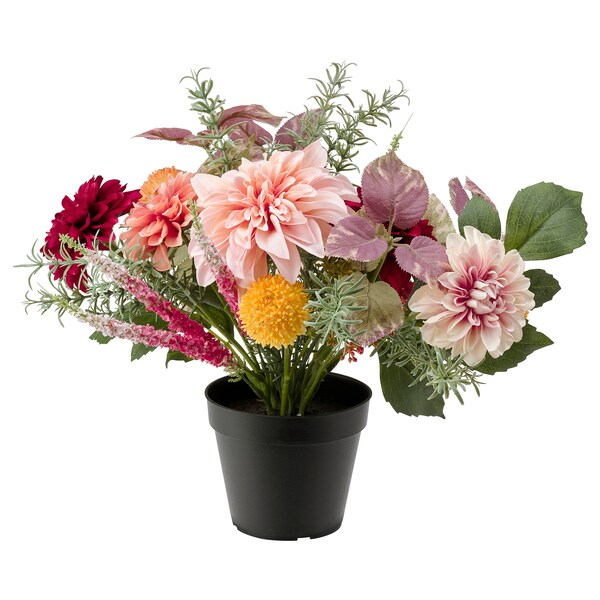 FEJKA Artificial potted plant, in/outdoor arrangement/Dahlia, 12 cm