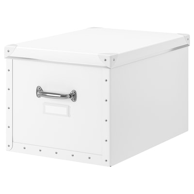 FJÄLLA Storage box with lid, white, 35x56x30 cm