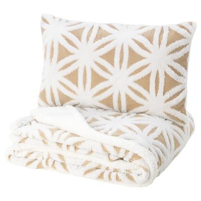 FJÄLLARV غطاء سرير وغطاء وسادة, أبيض/بيج, 150x250/40x65 سم