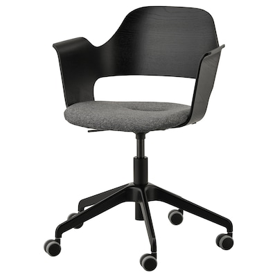 FJÄLLBERGET كرسي اجتماعات بعجلات, قشرة الدردار لون الأسود/Gunnared رمادي غامق