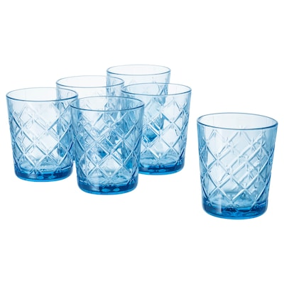FLIMRA Glass, patterned/blue, 28 cl 6 pack