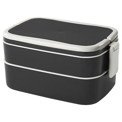 FLOTTIG صندوق غداء للرحلات, أسود/أبيض, 21x13x10 سم
