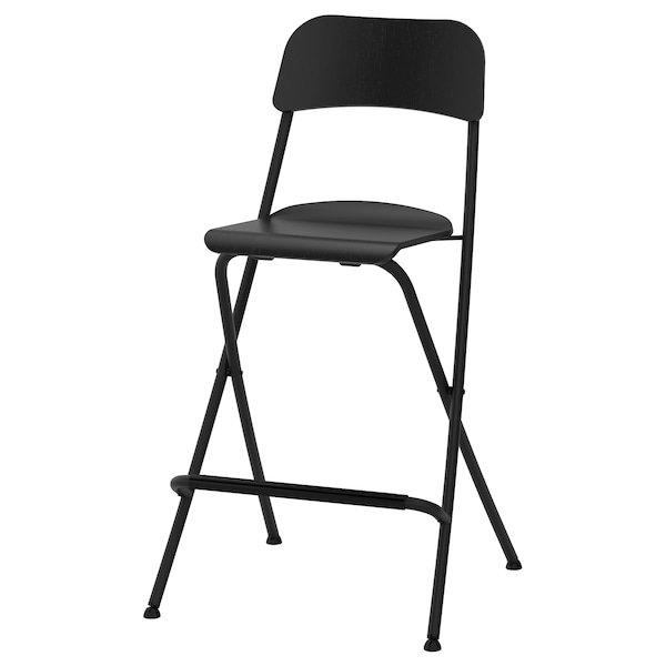 FRANKLIN Bar stool with backrest, foldable, black/black, 63 cm