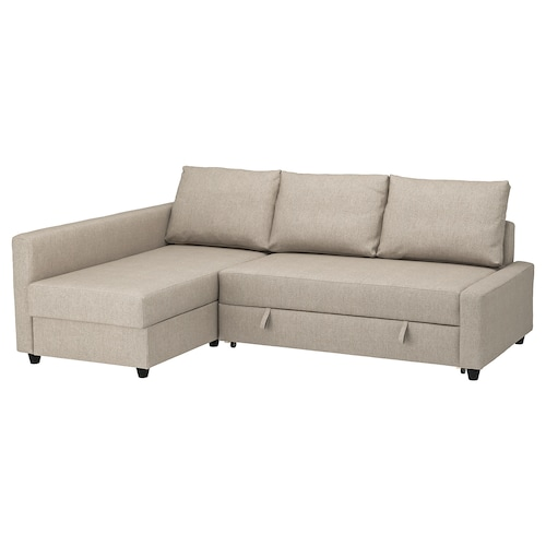 FRIHETEN corner sofa-bed with storage Hyllie beige 230 cm 151 cm 66 cm 140 cm 204 cm
