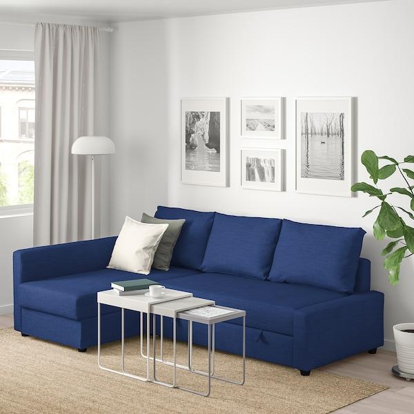 Corner sofa-bed with storage FRIHETEN Skiftebo blue