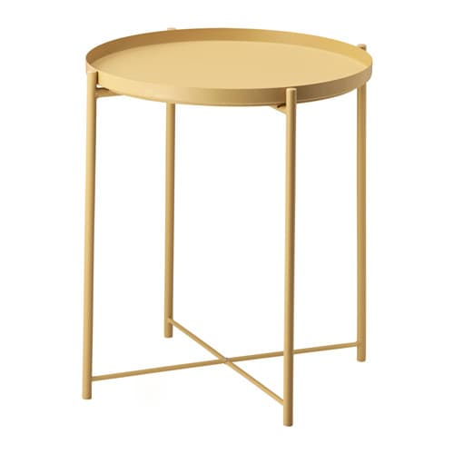 Gladom tray table light yellow ikea for Snack table ikea