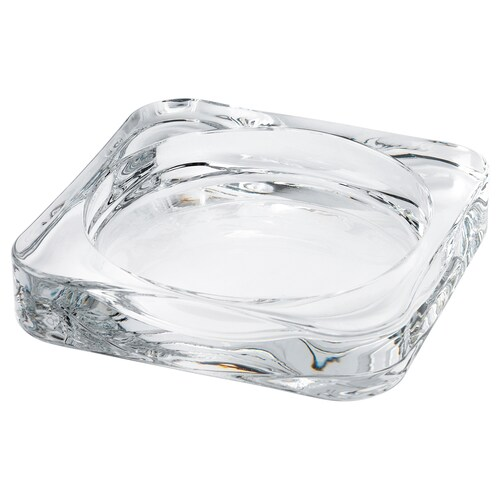 GLASIG candle dish clear glass 10 cm 10 cm 1.5 cm