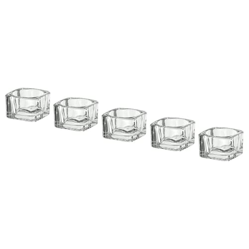 GLASIG tealight holder clear glass 5 cm 5 cm 3.5 cm 5 pack