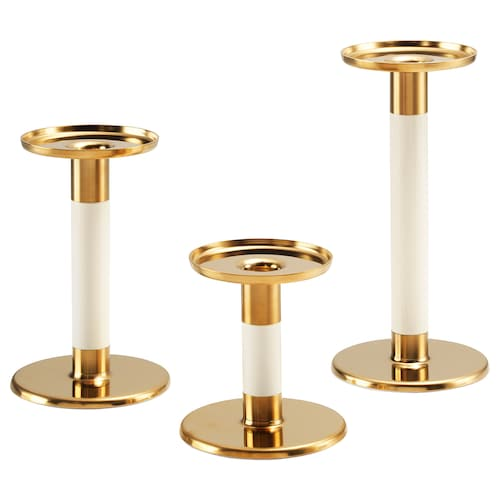 GLITTRIG candlestick, set of 3 ivory/gold-colour