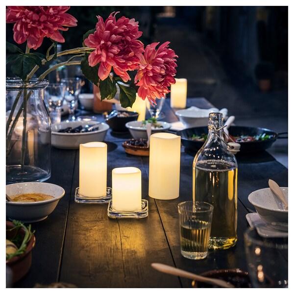 GODAFTON قالب شمع LED داخلي/خارجي، طقم 3 قطع, يعمل بالبطارية/لون طبيعي