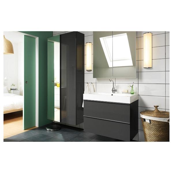 GODMORGON خزانة بمرآة مع بابين, زجاج مرايا, 80x14x96 سم