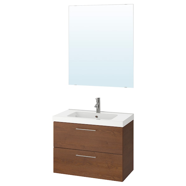 GODMORGON / ODENSVIK bathroom furniture, set of 4 brown stained ash effect/Dalskär tap 83 cm 80 cm 49 cm 64 cm