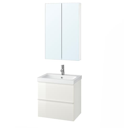 GODMORGON / ODENSVIK bathroom furniture, set of 4 high-gloss white/Dalskär tap 63 cm 60 cm 49 cm 89 cm