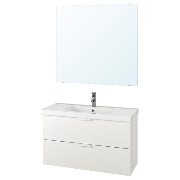 GODMORGON / ODENSVIK bathroom furniture, set of 4 white/Dalskär tap 103 cm 60 cm 49 cm 89 cm