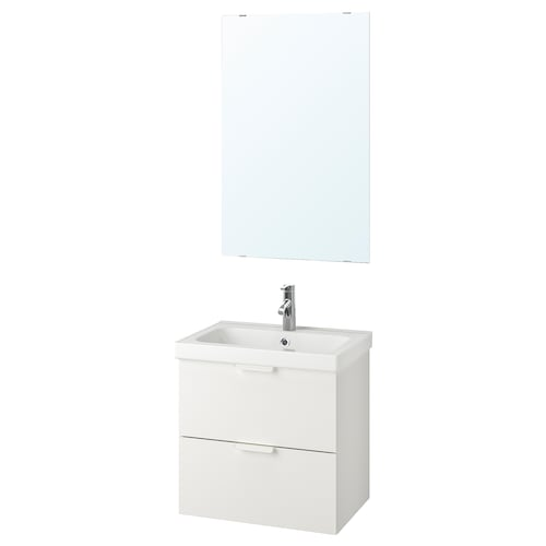 GODMORGON / ODENSVIK bathroom furniture, set of 4 white/Dalskär tap 63 cm