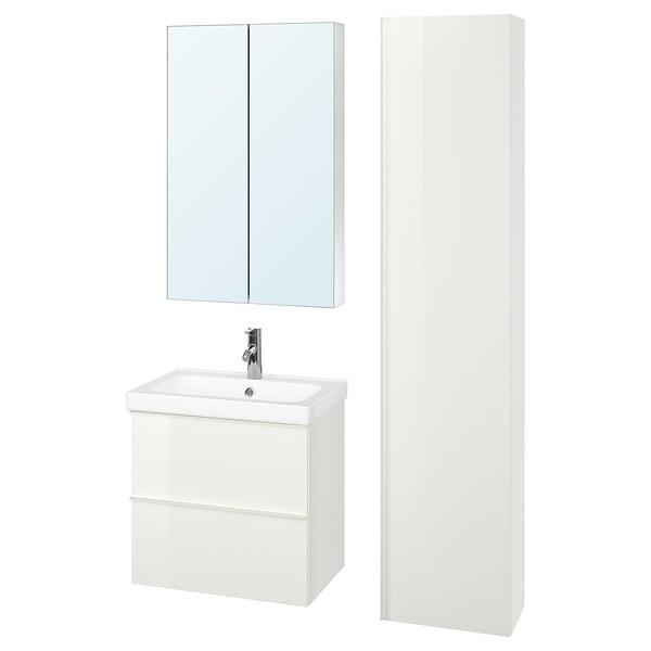 GODMORGON / ODENSVIK bathroom furniture, set of 5 high-gloss white/Dalskär tap 63 cm 60 cm 49 cm 89 cm