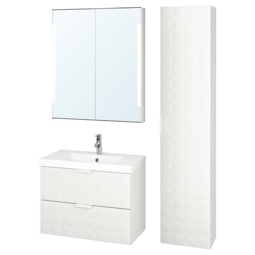 GODMORGON / ODENSVIK bathroom furniture, set of 5 Resjön white/Dalskär tap 83 cm 80 cm 49 cm 68 cm