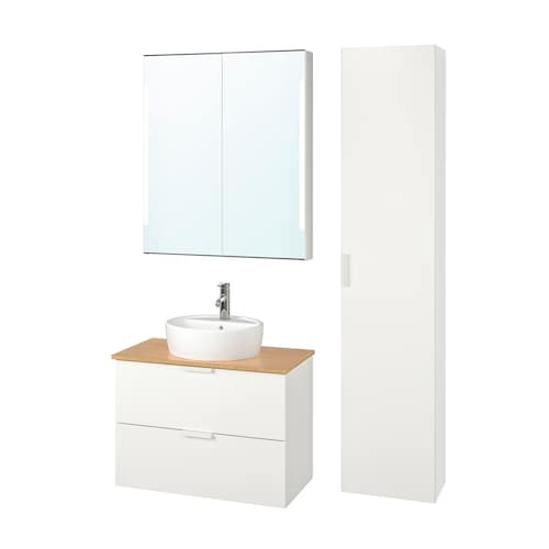GODMORGON/TOLKEN / TÖRNVIKEN bathroom furniture, set of 6 white/bamboo Dalskär tap 82 cm 80 cm 49 cm 89 cm