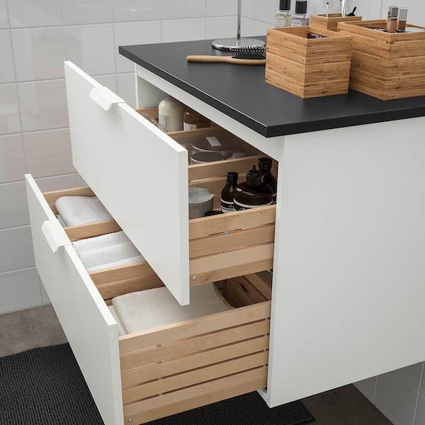 GODMORGON / TOLKEN Wash-stand with 2 drawers, white/anthracite, 82x49x60 cm