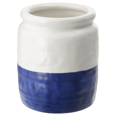 GODTAGBAR مزهرية, فخّار أبيض/أزرق, 18 سم