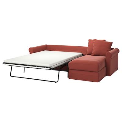 GRÖNLID كنبة-سرير 3 مقاعد, مع أريكة طويلة/Ljungen أحمر فاتح