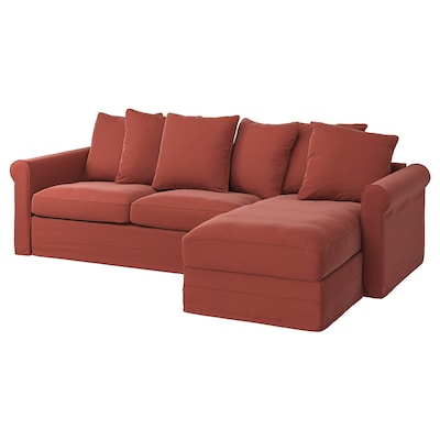 GRÖNLID 3-seat sofa-bed with chaise longue, Ljungen light red
