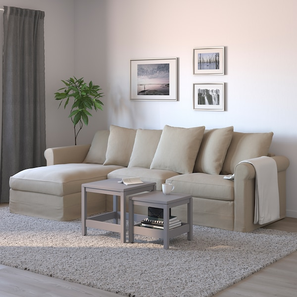 GRÖNLID 3-seat sofa-bed with chaise longue, Sporda natural