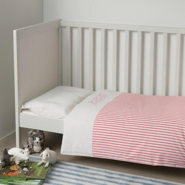 GULSPARV غطاء لحاف وغطاء مخدة واحد للأطفال, مخطط/أحمر, 110x125/35x55 سم