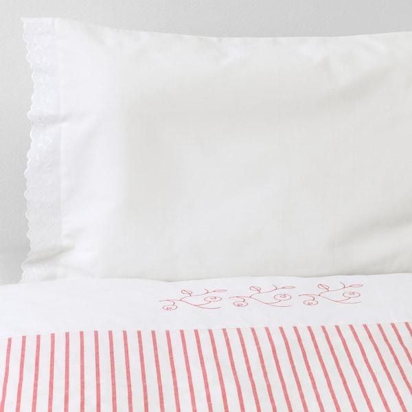 GULSPARV غطاء لحاف/كيس مخدة لسرير طفل, مخطط/أحمر, 110x125/35x55 سم