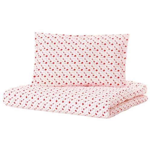 GULSPARV quilt cover/pillowcase for cot lingonberry patterned 125 cm 110 cm 55 cm 35 cm