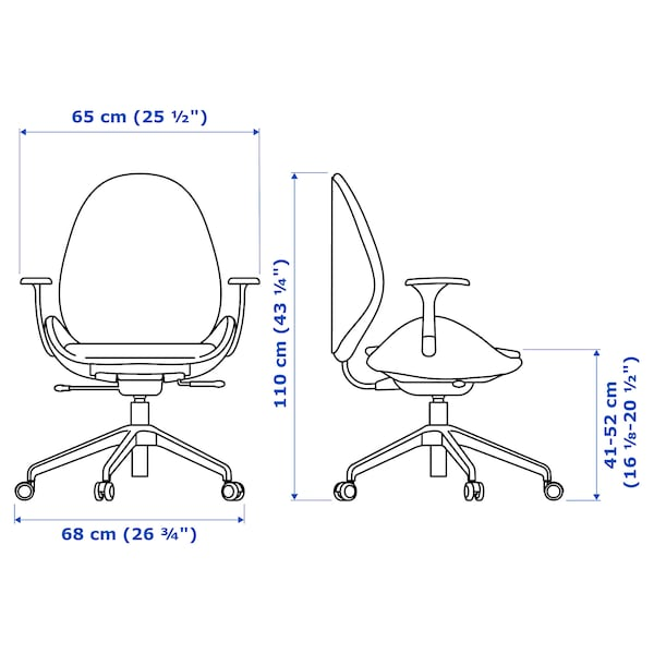 HATTEFJÄLL كرسي مكتب بمساند ذراعين, Gunnared بيج/أبيض