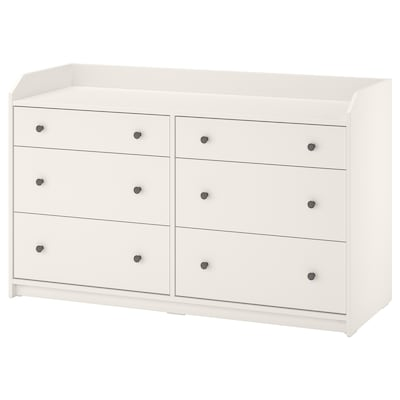 HAUGA Chest of 6 drawers, white, 138x84 cm